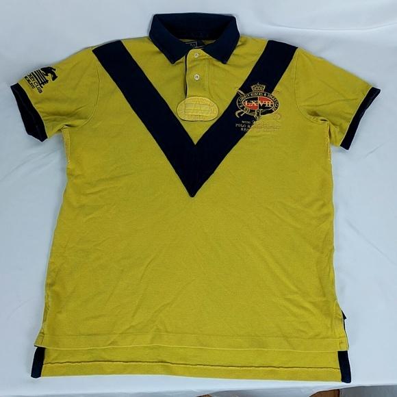 Polo Ralph Lauren Yellow Custom Fit Jockey Club Shirt Rugby NWT